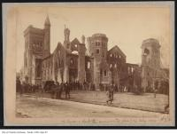 Historic photo from Wednesday, February 14, 1890 - University College : People gather to see the aftermath of the fire of 1890 in University of Toronto (U of T)