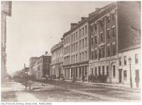 Historic photo from 1856 - Wellington Street East : north-side between Church and Yonge streets, showing the Wellington Hotel in St. Lawrence