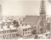 Historic photo from 1856 - Second United Presbyterian Church under construction at Queen St and Mutual in Old Town
