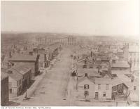 Historic photo from 1856 - Looking north up York Street to Osgoode Hall - Toronto from the top of the Rossin House Hotel in Financial District