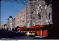 Historic photo from Saturday, November 7, 1981 - Looking north on Bond Street with Bond Street Temple in the foreground, and St. Georges Greek Orthodox church farther north in Ryerson