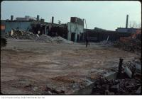Historic photo from Thursday, March 27, 1980 - Demolition of Sherbourne St Carriage House - view over hoarding at Frederick and Esplanade in St. Lawrence