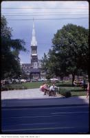 Historic photo from Monday, July 16, 1973 - View of the 260 foot St. Michael's spire, looking north from Queen St East ??? in Garden District
