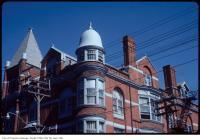 Historic photo from Saturday, May 19, 1984 - Bell roof on round tower on the Great Hall - Queen St W. at Dovercourt - built 1889 in Beaconsfield Village
