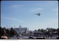 Historic photo from Saturday, September 1, 1984 - The Concorde jet flying over Ontario Place entrance in Ontario Place