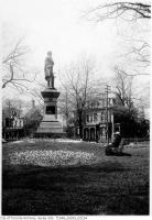 Historic photo from Saturday, May 3, 1913 - Allan Gardens - tulip beds, Burns monument in Garden District