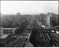Historic photo from 1958 - View of Yonge Street and Yonge subway line looking south from McBrien Building in Mount Pleasant Cemetery