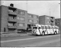 Historic photo from Thursday, December 25, 1958 - Christmas bus on Eglinton Avenue East at Laird - Andrews Manor in Leaside