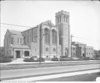Historic photo from 1920 - Exterior view of the Eaton Memorial Church, St. Clair Avenue West in Forest Hill