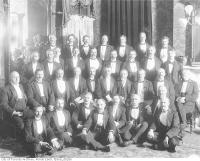 Historic photo from 1910 - Rossin House (then the Prince George Hotel) Toronto Canoe Club group portrait (after 1910) in Financial District
