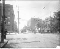 Historic photo from 1910 - Falconer Hotel - north-west corner of King Street West and Spadina Avenue (also known as the Zeigler Hotel and Hotel Falconer) in Wellington Place