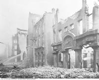 Historic photo from Wednesday, April 20, 1904 - Toronto 1904 fire : Brown Brothers building on Wellington Street West, looking east from west of Bay Street in Great Toronto fire of 1904