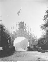Historic photo from Wednesday, October 1, 1901 - Many trees south of Queens Park, looking through the Manufacturer's Arch in Queens Park
