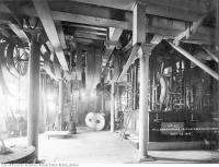 Historic photo from Tuesday, November 12, 1918 - Groundfloor mill, showing machinery for driving millstones and rools in Distillery District