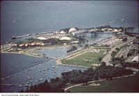 Historic photo from 1990 - Looking west over Ontario Place in Ontario Place