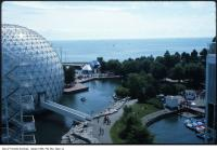 Historic photo from 1978 - Exterior view of the Cinesphere dome at Ontario Place in Ontario Place