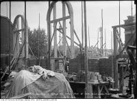 Historic photo from Thursday, October 8, 1914 - Temporary wooden supports for the rounded windows of the HLPS in Republic of Rathnelly