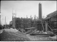 Historic photo from Friday, November 6, 1914 - Construction progress at the High level pumping station - smoke stack partially complete in Republic of Rathnelly