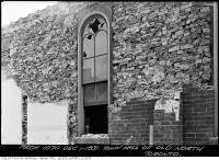 Historic photo from Tuesday, December 1, 1931 - Removing bricks around the distinctive windows ofthe old Library, previously the Town Hall in North Toronto