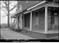 Historic photo from Friday, April 13, 1934 - Sideview of the deteriorating Earlscourt Park Clubhouse verandah (originally Preston Villa) in Little Italy (St. Clair)
