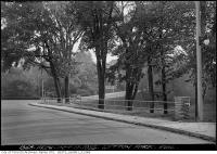 Historic photo from Thursday, October 17, 1935 - Lytton Park - railing with lawn bowling in background in Lytton Park