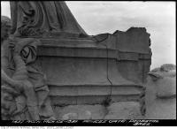 Historic photo from Friday, March 25, 1938 - Closeup of pedestal base and a character - Princes Gates in CNE