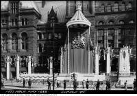 Historic photo from Friday, May 19, 1939 - Decorations for visit of King George VI on Old City Hall in City Hall