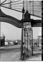 Historic photo from Monday, November 16, 1942 - Close up of one of the crumbling pillars of the Dufferin Memorial Gate in CNE