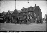 Historic photo from Saturday, December 9, 1922 - 274, 276, 278 Dupont Street north-west corner at Spadina in The Annex