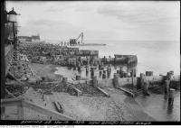 Historic photo from Tuesday, November 19, 1929 - Kew Beach Park East - wooden groynes to reduce sand erosion along the beach in The Beaches