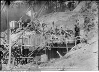 Historic photo from Monday, May 3, 1915 - Constructing the Bloor Street Viaduct - Rosedale section - looking west, Pier E in Don River