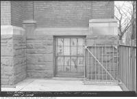 Historic photo from Monday, December 3, 1934 - Clinton St. School re: damaged iron fence in Bickford Park