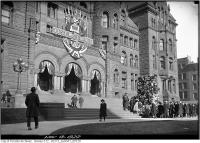 Historic photo from Monday, November 13, 1922 - Lest We Forget on Old City Hall behind Cenotaph in City Hall