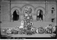 Historic photo from Tuesday, November 11, 1924 - Flowers outside City Hall for Remembrance Day in City Hall