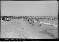 Historic photo from Monday, August 19, 1935 - Lots of people in the water at Cherry Beach in Cherry Beach