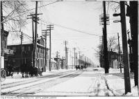 Historic photo from Friday, January 19, 1912 - Pressed Metal Factory building at King and Dufferin Streets looking east in Liberty Village