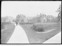 Historic photo from Thursday, October 9, 1913 - Man on path and houses around Kendal Square now Jean Sibelius Square in The Annex