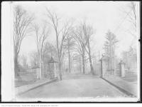 Historic photo from Saturday, February 7, 1914 - Stone gates at Dufferin Grove South from Gladstone Avenue in Dufferin Grove