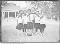 Historic photo from Wednesday, August 26, 1914 - Girls team at St. Andrews playing field in Alexandra Park