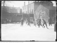 Historic photo from Saturday, February 27, 1915 - Moss Park Start of the Boys Skating Championships race in Moss Park