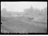 Historic photo from Tuesday, July 13, 1920 - Earlscourt Park - men and horses grading the area for the park in Little Italy (St. Clair)