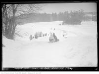 Historic photo from Saturday, February 14, 1925 - Sherwood Park - tobogganing on Valentines Day in Sherwood Park