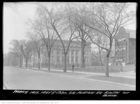 Historic photo from Monday, May 5, 1930 - East side of Queens Park Crescent - Alexandra Gates on far left, Annesley Hall, Womens Residence, on right in Royal Ontario Museum