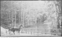 Historic photo from 1912 - Glen Stewart Park - water, railing, and horse drawn cart in The Beaches