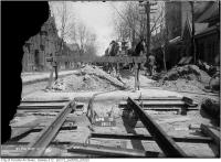 Historic photo from Saturday, April 15, 1911 - All Saints Church at Wilton East of Sherbourne - track construction in Cabbagetown South