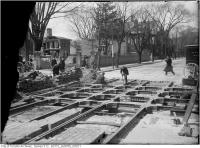 Historic photo from Saturday, April 15, 1911 - Sherbourne and Wilton - track construction and house demolition in Garden District