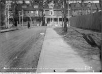 Historic photo from Tuesday, January 28, 1913 - Coolmine Road - sidewalk crossing on east side opposite north gate of Protestant Orphans house in Dufferin Grove