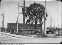 Historic photo from Wednesday, June 17, 1914 - Dufferin and Springhurst - empty lot, back of sign in Parkdale