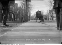 Historic photo from Thursday, December 19, 1912 - Southwest corner Beaconsfield and Argyle Street w/ horse drawn cart in Beaconsfield Village