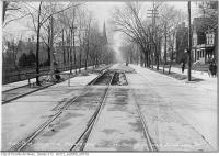 Historic photo from Wednesday, November 10, 1915 - Carlton St. west from Sherbourne St. with Allan Garden to the left in Garden District